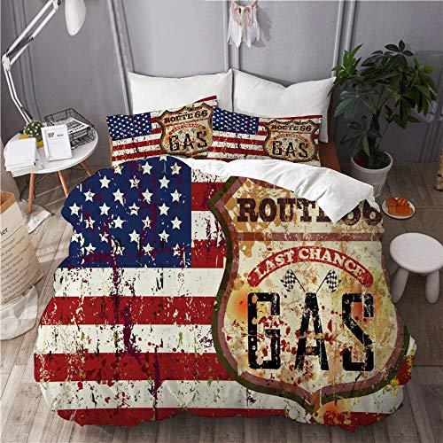 XINGAKA Funda nórdica Estampada,Ruta 66 Bandera Americana con Rayas Grunge y Estrellas National...