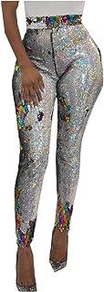 DressU Women's Clubwear Beaded High Waist Trendy Sexy Sequin Cropped Leggings