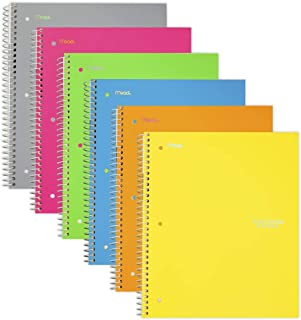 $24 » Five Star Spiral Notebooks, 1 Subject, College Ruled Paper, 100 Sheets, 11 x 8-1/2 inches, Assorted Colors, 6 Pack (38057)
