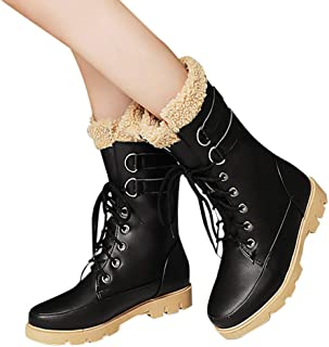 Dainzuy Women's Warm Snow Boots Ankle Lace up Mid-Calf Combat Boot Slip on Winter Low Heel Faux Fur Booties
