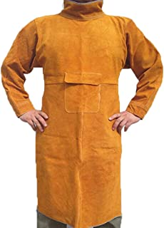 Jewboer Leather Welding Apron Jacket Anti-scald Work Apron Heavy Duty Weld Coat Clothes with Neck...