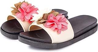WMK Women's Slippers Indoor House or Outdoor Latest Fashion Beige Flower Flipflop Slipper for Women