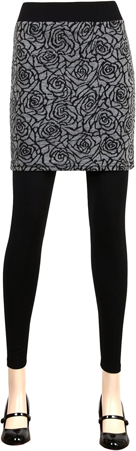 iliily Rose Pattern Floral Skirt with Large-scale sale New life Footless Leggings Stretchy