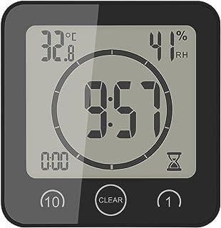 Phonleya Reloj de Ducha Digital LCD Reloj de Temperatura y Humedad Control táctil Termómetro multifunción portátil Reloj d...
