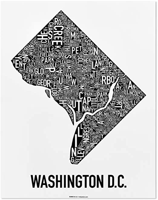 Washington Dc Neighborhoods Map Art Poster Black White 22 X 28 Posters Prints