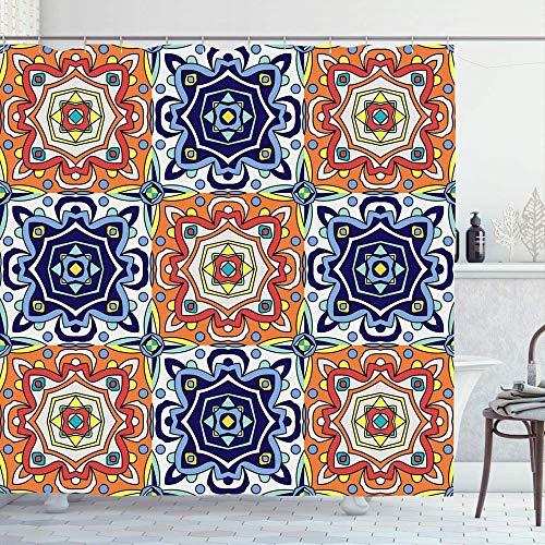 Duschvorhang,Andalusien Portugiesischen Kreuz Azulejo Fliesen Blau Weiß Antik Vintage Talavera Porzellan Boden Block Personalisierte Print Bad Vorhänge