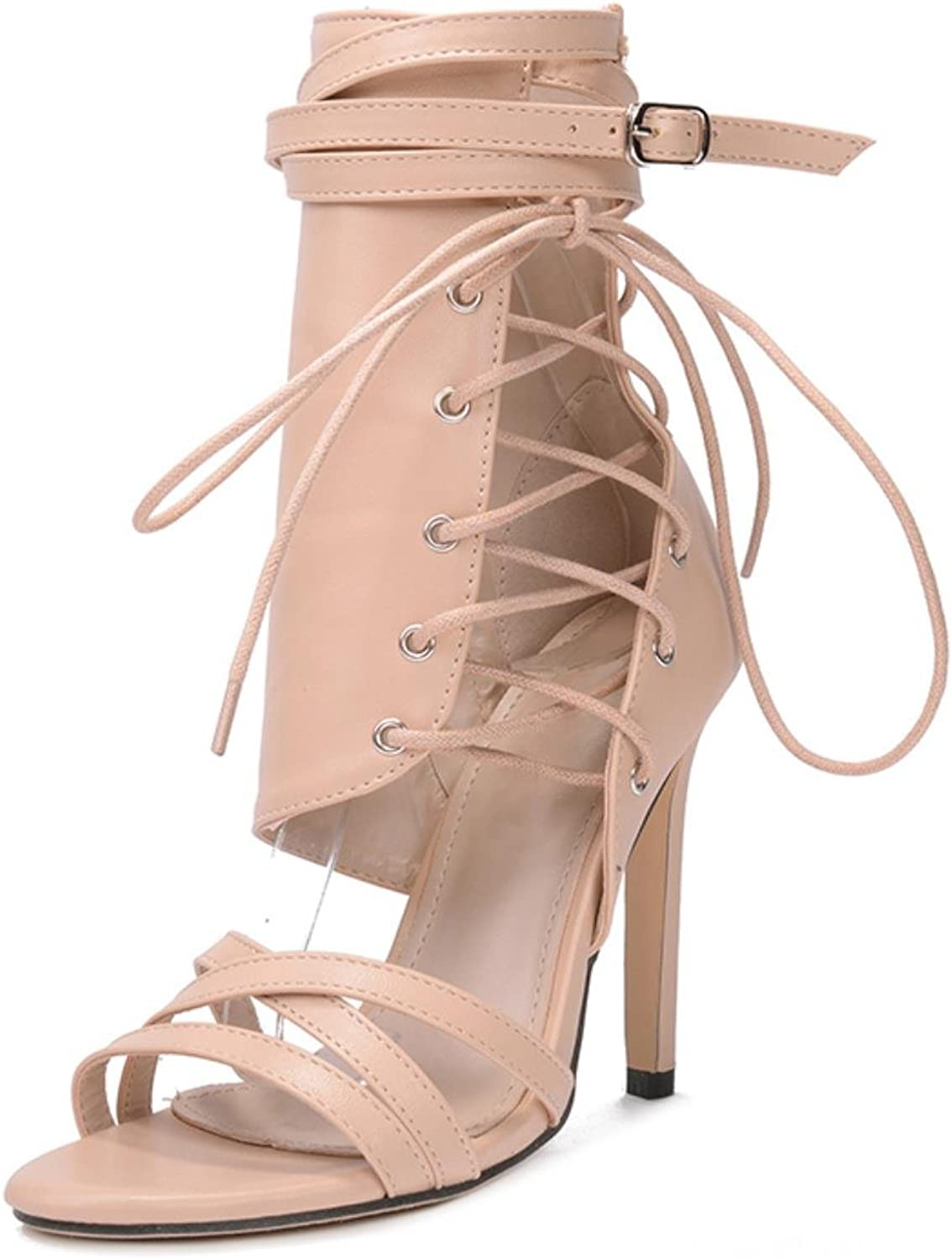 Rumbidzo Women Sandals 2018 Fashion Summer Gladiator Sandals Woman shoes Lace Up Ankle Strap High Heels Party shoes Sapatos