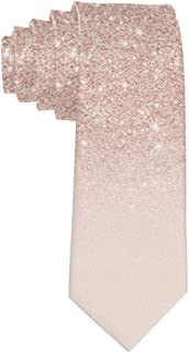 Luxury Elegant 100% Polyester Textile Rose Gold Faux Glitter Pink Ombre Color Block Tie for Men Boys Formal Business Weddi...
