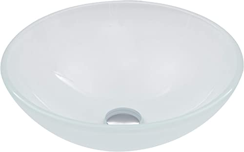 new arrival VIGO Round Glass Vessel sale Bathroom Sink White Frost N/A, Matte, popular Textured outlet online sale