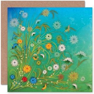 FLOWERS COLOURFUL BLUE SKY GRASS BLANK GREETINGS BIRTHDAY CARD ART