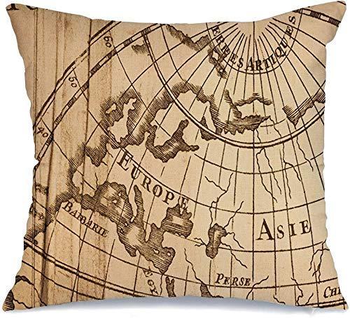 Decoración Throw Pillow Cover Funda de cojín 18th World in Map Antique Vintage 1752 Asia Century Cobre Distribución Logística Grabado Funda de Cojine 45 X 45CM