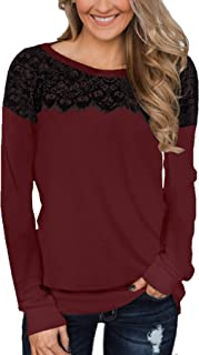 Women's Black Lace Top Long Sleeve Elegant Sweatshirt