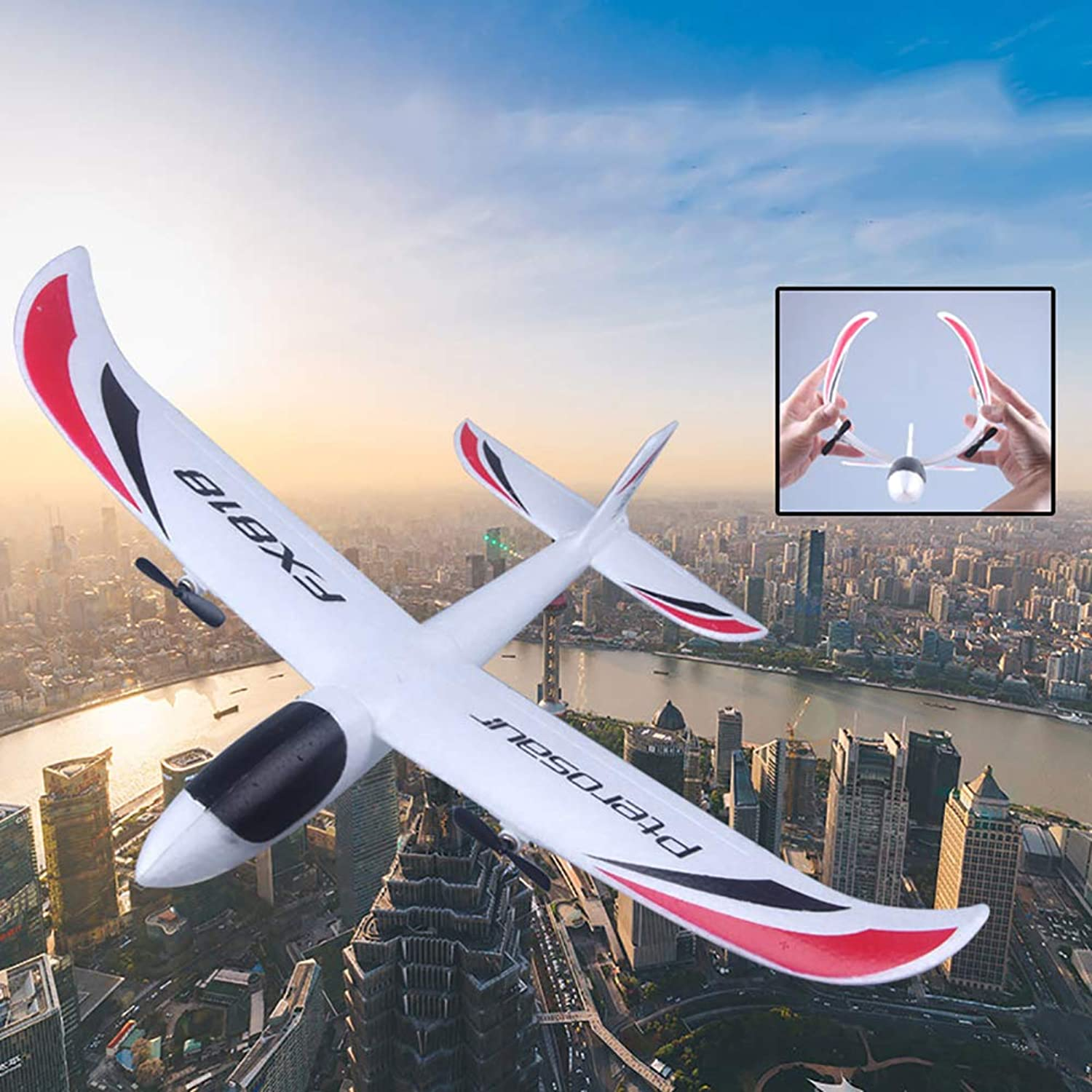 ShiYsRL FX-818 2.4G EPP Remote Control RC Airplane Glider Toy with LED Light Kids Gift