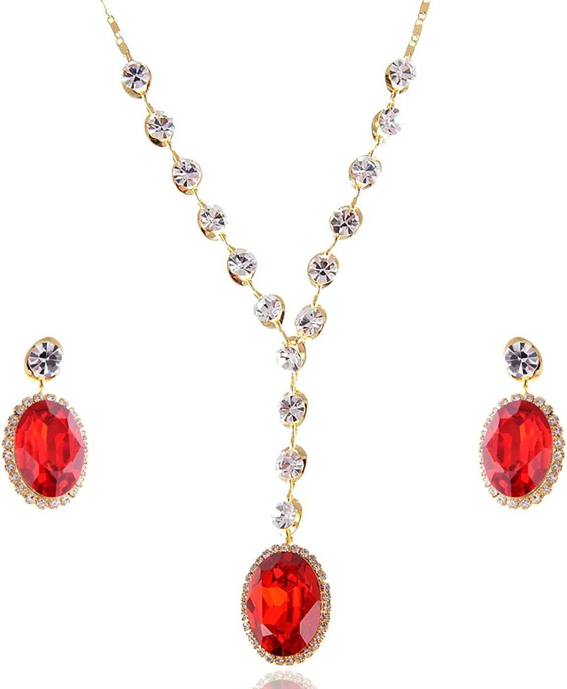 Alilang Red Ruby Clear Swarovski Crystal Rhinestone Earring Necklace Jewelry Set