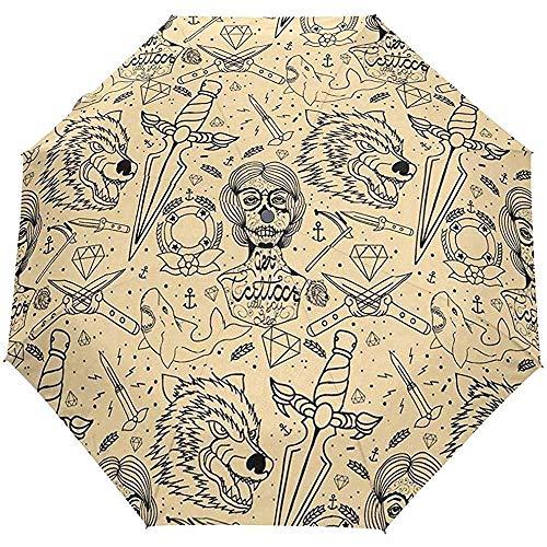 Merle House Automatische Regenschirme Tattoo Wolf Golf Travel Sonne Regen Winddicht Auto Öffnen Schließen Regenschirm mit UV-Schutz
