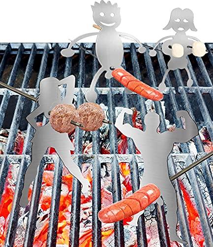 Hot Dog Boy/Marshmallow Bräter aus Stahl,Mix-4 Stück für Damen und Herren, geformter Lagerfeuer-Bratstab, Hotdog Boy Man & Girl Woman, lustiger Metall-Spießstab für Lagerfeuer, Lagerfeuer-Grill