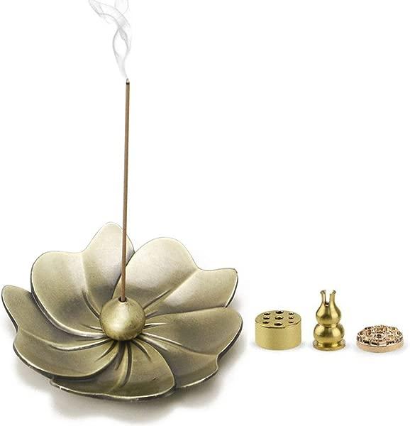 雅金店 5 合 1 复古古铜色樱花花形插香炉和盘香器带捕灰器家用办公室俱乐部瑜伽