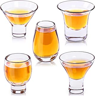 ZENS Crystal Sake Cups,5 Mixed Sake Glasses Shot Cups with Heavy Base for Japanese Sake Decanter Cold Liquor,Tequila or Rum