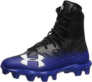 Under Armour Boys' Highlight RM Jr. Football Shoe, Black (002)/Team Royal, 4