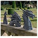 Falkenberg Castle Moat Lawn Statu - Statua decorativa da giardino con drago gotico, statuette divertenti, arte del cortile, gelo e statua resistente all'inverno, colore: nero