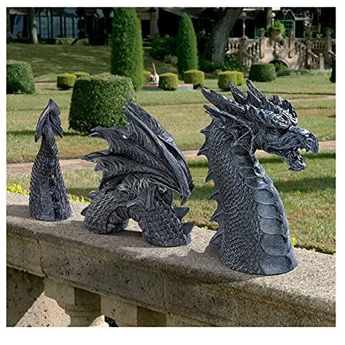 Große Drachen Gothic Garden Decor Statu -Der Drache von Falkenberg Castle Moat Lawn Statue,Gartenskulpturen & Statuen, lustige Figur,Hofkunst,Frost und winterresistente Statue für den Garten (schwarz)