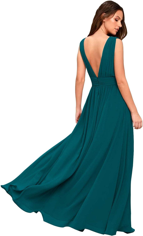 Teal Women's National uniform free shipping Double V Bargain sale Neck Sexy Bridesmaid Chiffon Split Long Dr