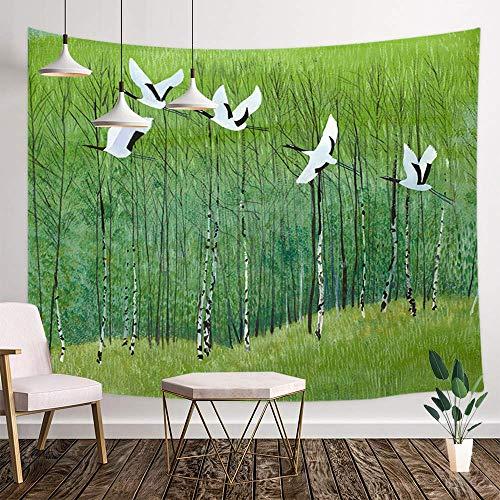 Muur Woondecoratie Art Abstract Olieverf Wandtapijt Deken Japanse Aquarel Bos Groene Bomen en Vliegende Vogels Japan Inkt Schilderij Wandtapijt