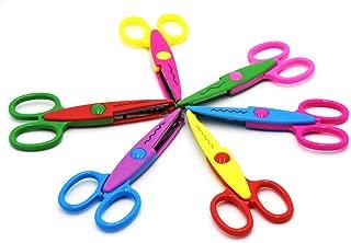 JSSHI Plastic Safety Paper Decorative Edge Cutting Scissor Creative Scrapbooking Lace Wave Edge Scissor for Handcraft Works(6 Colors 6 Patterns 6 Pack)