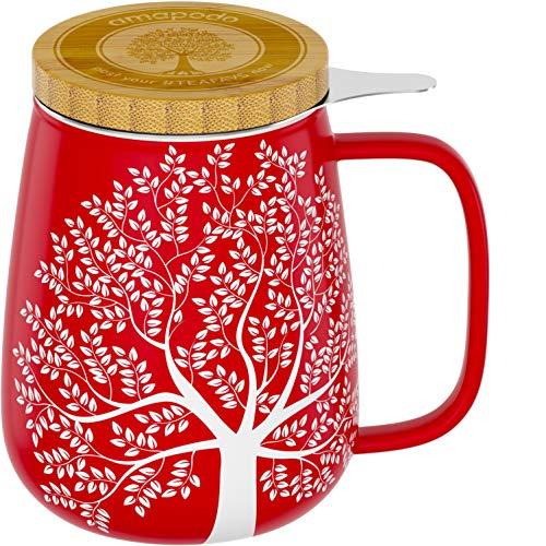 amapodo Teetasse mit Deckel und Sieb 600ml Porzellan Tasse groß, XXL Tassen Set Rot plastikfrei