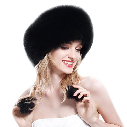 37c93402c8cf3 URSFUR Fox Fur Roller Hat with Leather Top Natural Color