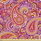 Lunarable Paisley Fabric by The Yard, Design Elements Traditional Floral Vintage Culture Ethnicity, Decorative Fabric for Upholstery and Home Accents, 1 Yard, Vermilion Purple