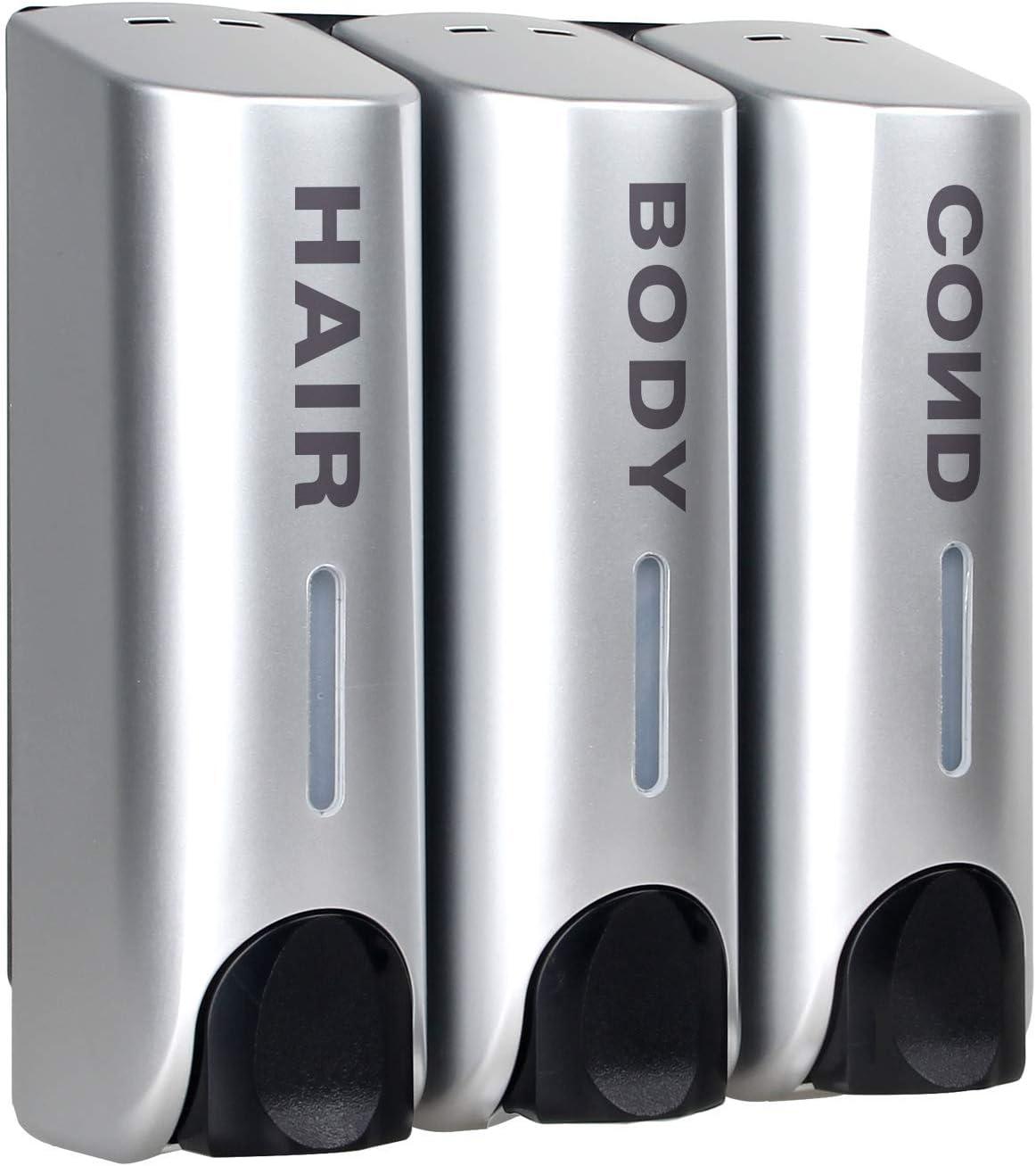 AUMIO Chamber Soap Dispenser Trio Shower Gel Shampoo Conditioner ABS Wall Mount Silver : Home & Kitchen