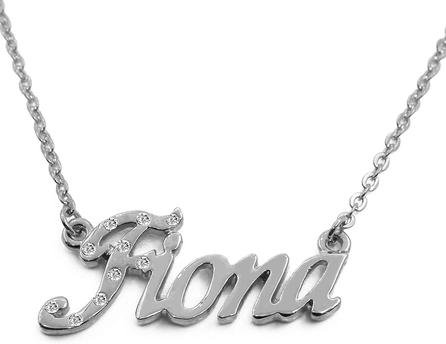 Name Necklace  Fiona   18K White gold Plated  Includes Free Gift Bag & Gift Box