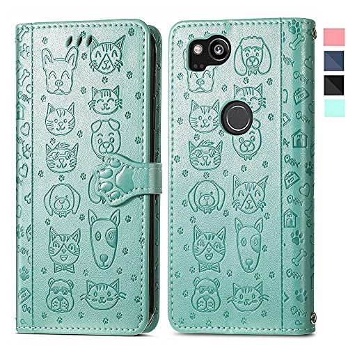 NKECXKJ Design for Google Pixel 2XL Wallet Case,Luxury PU Leather Phone Cases with Credit Card Holder Slot Stand Kickstand Rugged Flip Folio Protective Cover for Pixel2XL Pixel2 XL Women Girls Green