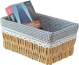 YAYADU Storage Basket Rattan Finishing Box Cotton linen Lined High capacity Wear-resistant Masks magazines livingroom bedr...