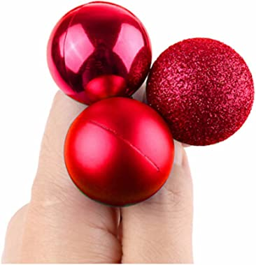 GOOTRADES Set of 24 Mini Shatterproof Christmas Balls Tree Ornaments Party Decoration, 3cm/1.18'' (Red)