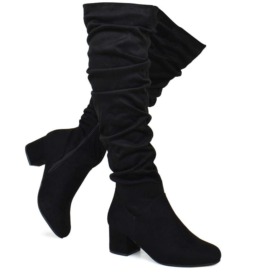 Premier Standard - Women Fashion Comfy Vegan Suede Block Heel Slip On Thigh High Over The Knee Boots