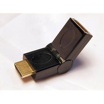 HDMI L字型アダプタ 90°-270°(オス・メス) 角度自由調整可