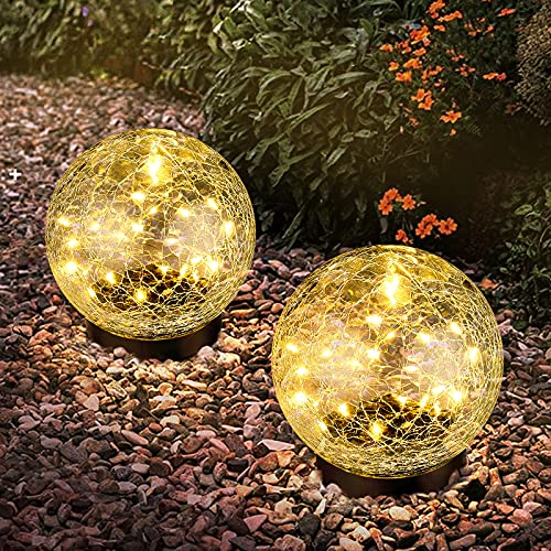 """2-Pack Garden Solar Lights Decorative, Cracked Glass Solar Globe Lights Outdoor 30 LEDs, Waterproof Ball Lights for Yard Patio Lawn Pathway Walkway Outside Decor, 4.72"""", Warm White"""