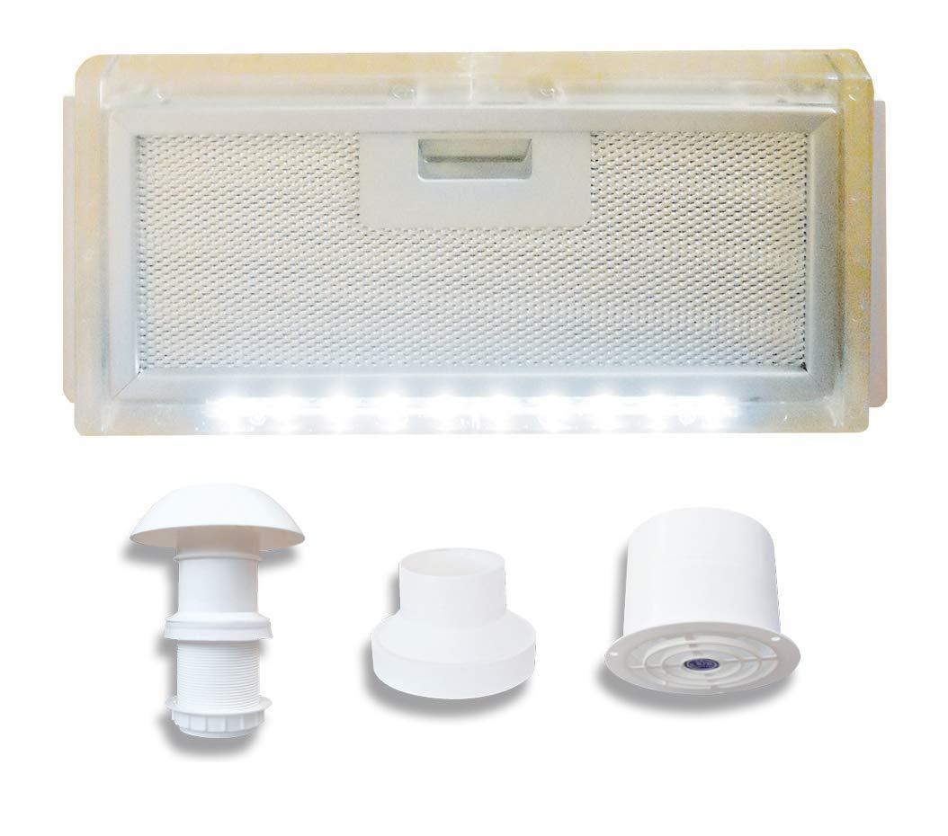 AVDISTRIBUTION Campana para Caravana – Lux – Disponible en la Versión con o sin Luces de LED Kit Cappa ASPIRANTE 12V con Luce LED: Amazon.es: Coche y moto