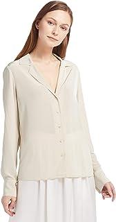 a10f91a7897366 LilySilk Women's 100% Silk Blouse Long Sleeve V Neck Ladies Shirt Silk