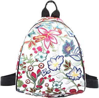 Wultia - Famous Brand Wonmen Vintage Embroidery Ethnic Canvas Backpack Women Flower Travel Bags Schoolbag Luxury Zaino da Donna 6.65#M07 Pink