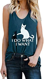 pujingge Women's Cat Slim Fit Sleeveless Casual Summer Letter Print Tank Top Cami Blouse Shirts Black Large