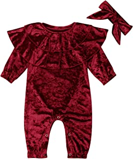 Toddler Baby Girl Velvet Clothes Long Sleeve Ruffle Romper One Piece Jumpsuit Bodysuit Headband Autumn Winter Outfit