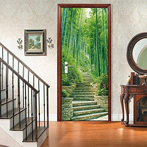 3D Puerta Engomada del Arte Mural de la Moderno,Bosque de bambú verde, escalerasEtiqueta de Puerta Autoadhesiva Extraíble Impermeable dormitorio decoración del hogar 77x200cm