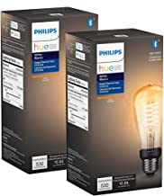 Philips Hue White Filament ST19 Smart Vintage LED Bulb, Bluetooth & Hub Compatible (Hue Hub Optional), Voice Activated wit...