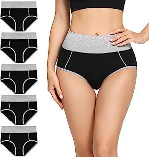 Womens Cotton Underwear Briefs High Waisted Ladies...