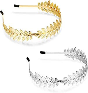 YADOCA Leaf Headband for Women Roman Goddess Branch Crown Bridal Hairband for Girls Gold Silver Tone
