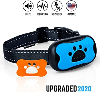 Dog No Bark Collar - Anti Barking Vibration Control Device for Small Medium Large Dogs - Puppy Training Deterrent - No Shock - 2020 Model - Fast Results!