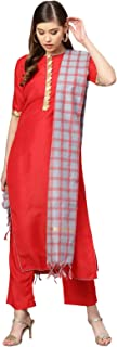 Inddus Red & Grey Silk Blend Solid Kurta Pants With Cotton Woven Dupatta (Fully-Stitched).